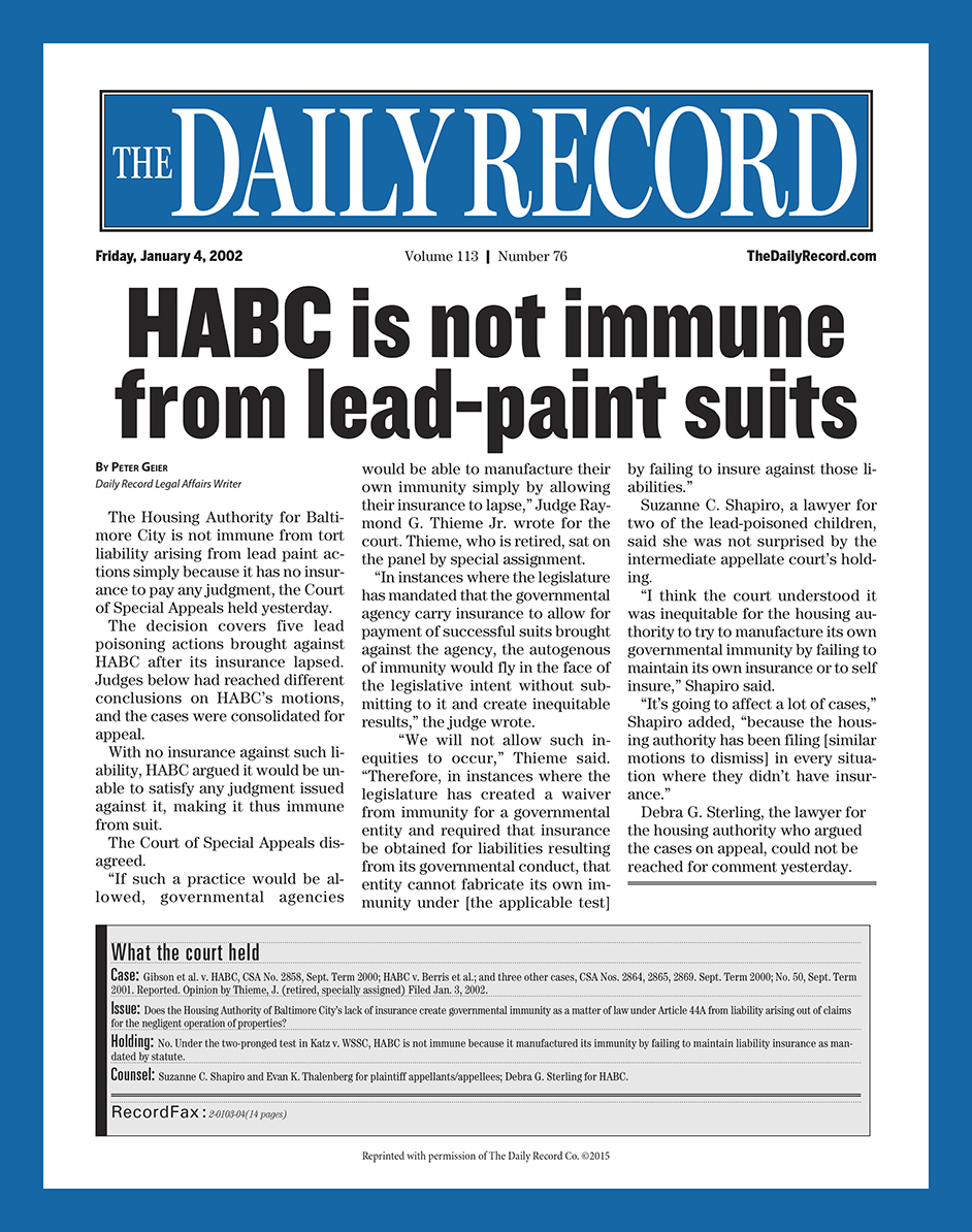 HABC is not immune from lead-paint suits