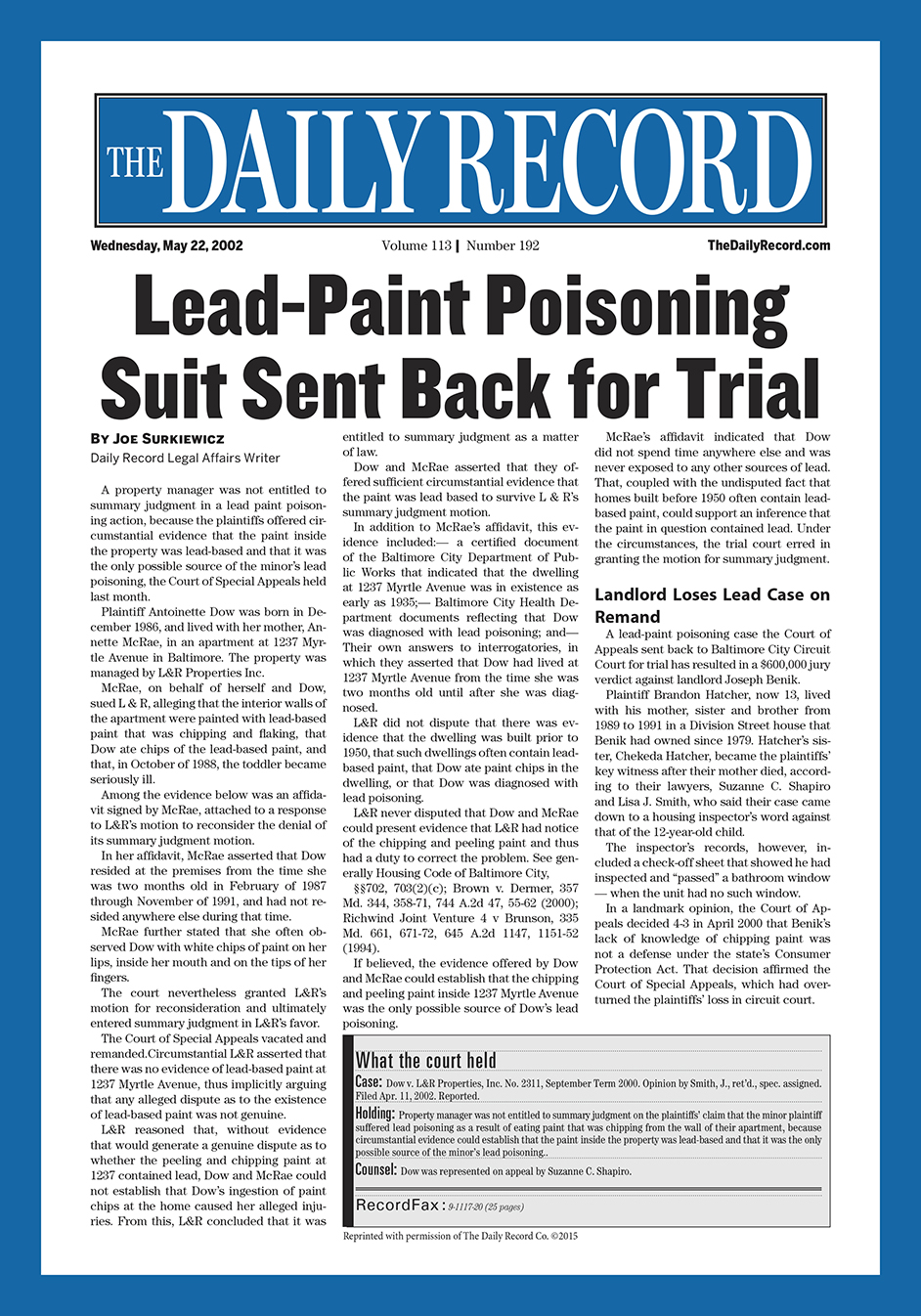 Lead-Paint poisoning suit sent back for trial