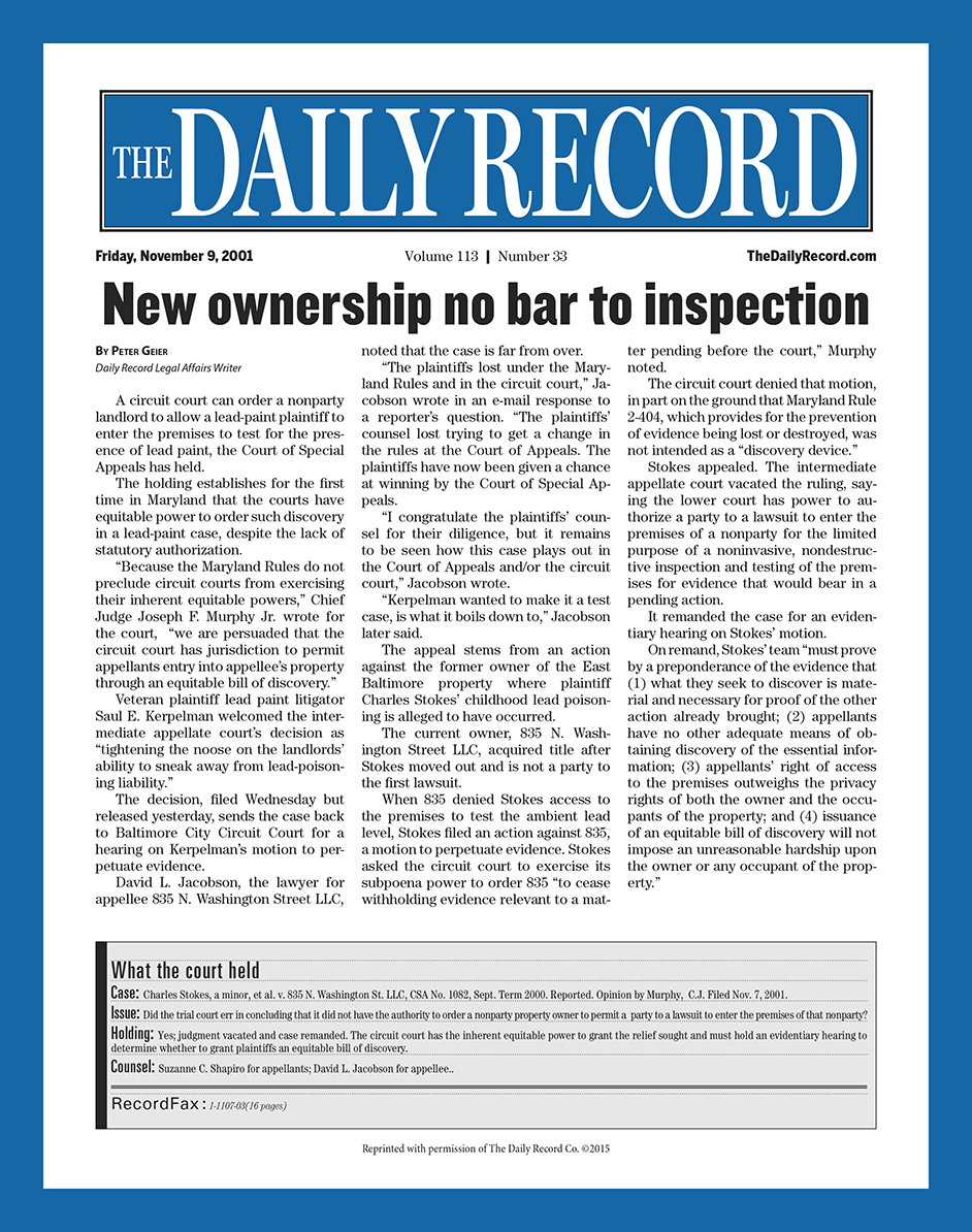 New ownership no bar inspection