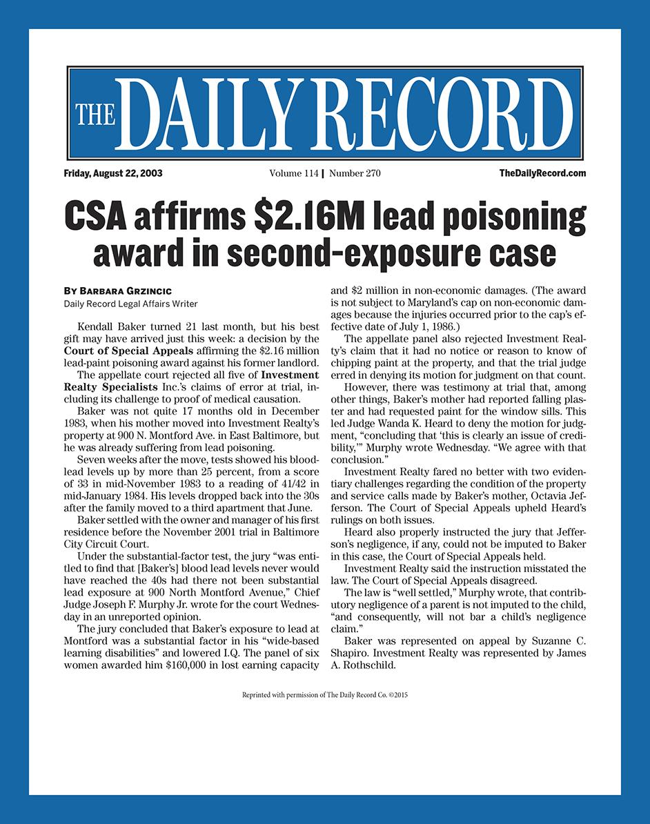 CSA affirms lead poisoning award